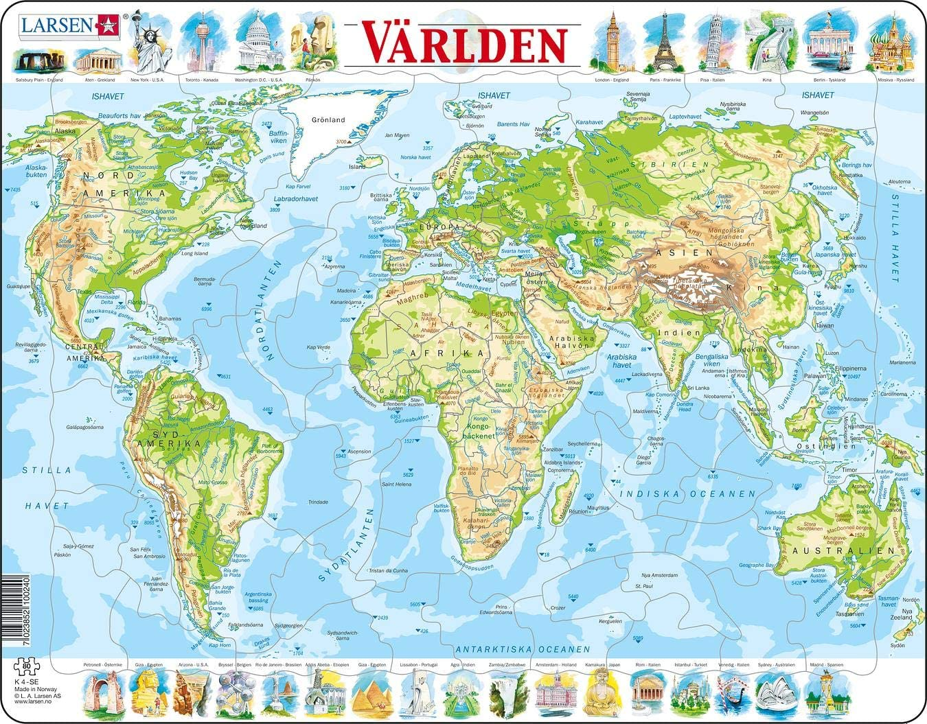 French Edition Jigsaw Puzzle with 80 Pieces Larsen K4 The World Physical Map