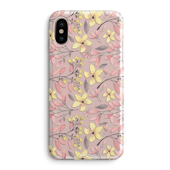 promo code d6c82 ffa80 Amazon.com: iPhone X Case,Flowers Pink Plants Leaves Succulents ...