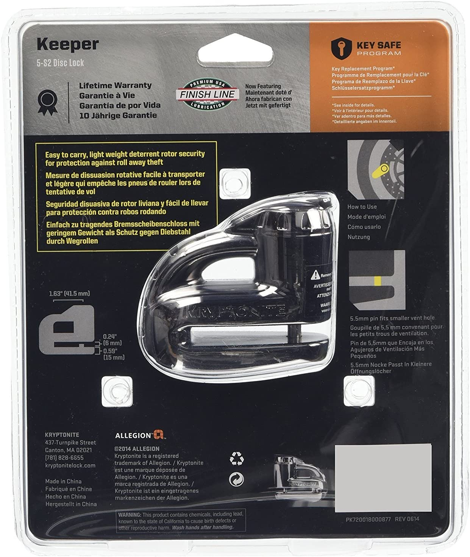 Noir Kryptonite 720018000877/Keeper 5-s2/Chrome Cadenas /à Disque 720018000877