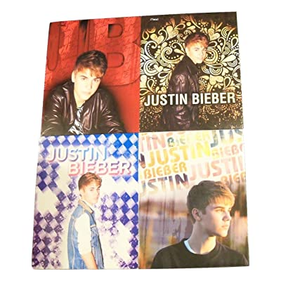 BIEBER Justin 4 Folder Set on Red, Golden Heart, Blue & Purple Diamonds, Future Awaits: Toys & Games