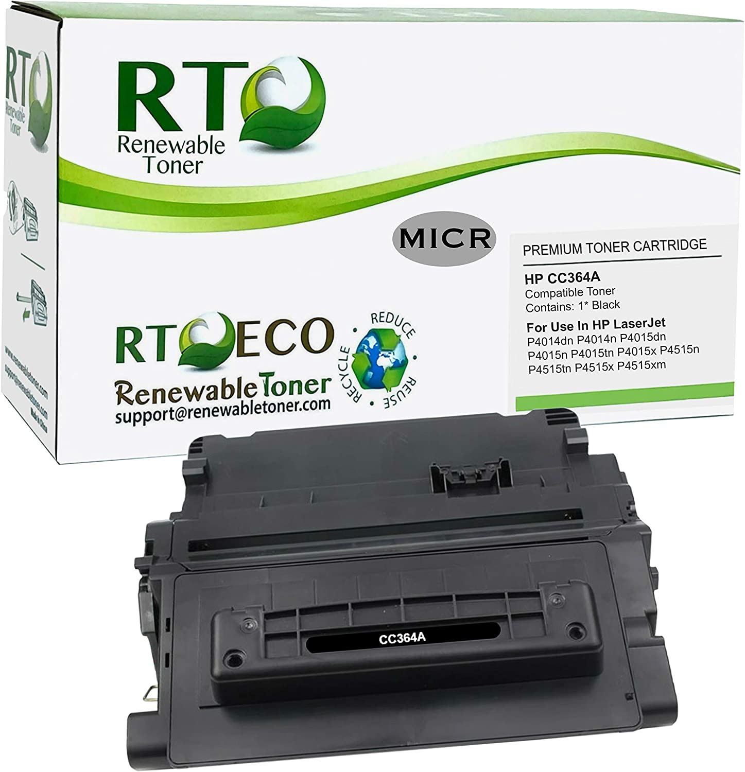 Renewable Toner Compatible MICR Toner Cartridge Replacement for HP CC364A 64A Laserjet P4014 P4015 P4515