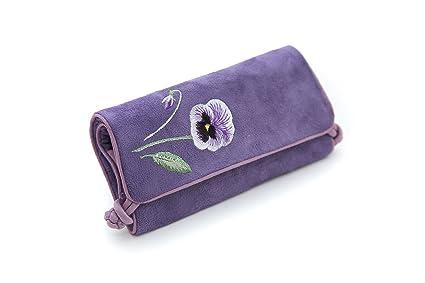 Seek Unique - Estuche enrollable para joyas, diseño con flor ...