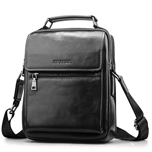 e0ca8d70c SPAHER Men Leather Shoulder Bag Handbag IPAD Business Messenger Backpack  Crossbody Casual Tote Sling Travel Bag Document Bag with Top-handle and  Adjustable ...