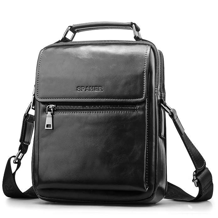 4404c1242b9 SPAHER Men Leather Shoulder Bag Handbag IPAD Business Messenger Backpack  Crossbody Casual Tote Sling Travel Bag Document Bag with Top-handle and ...
