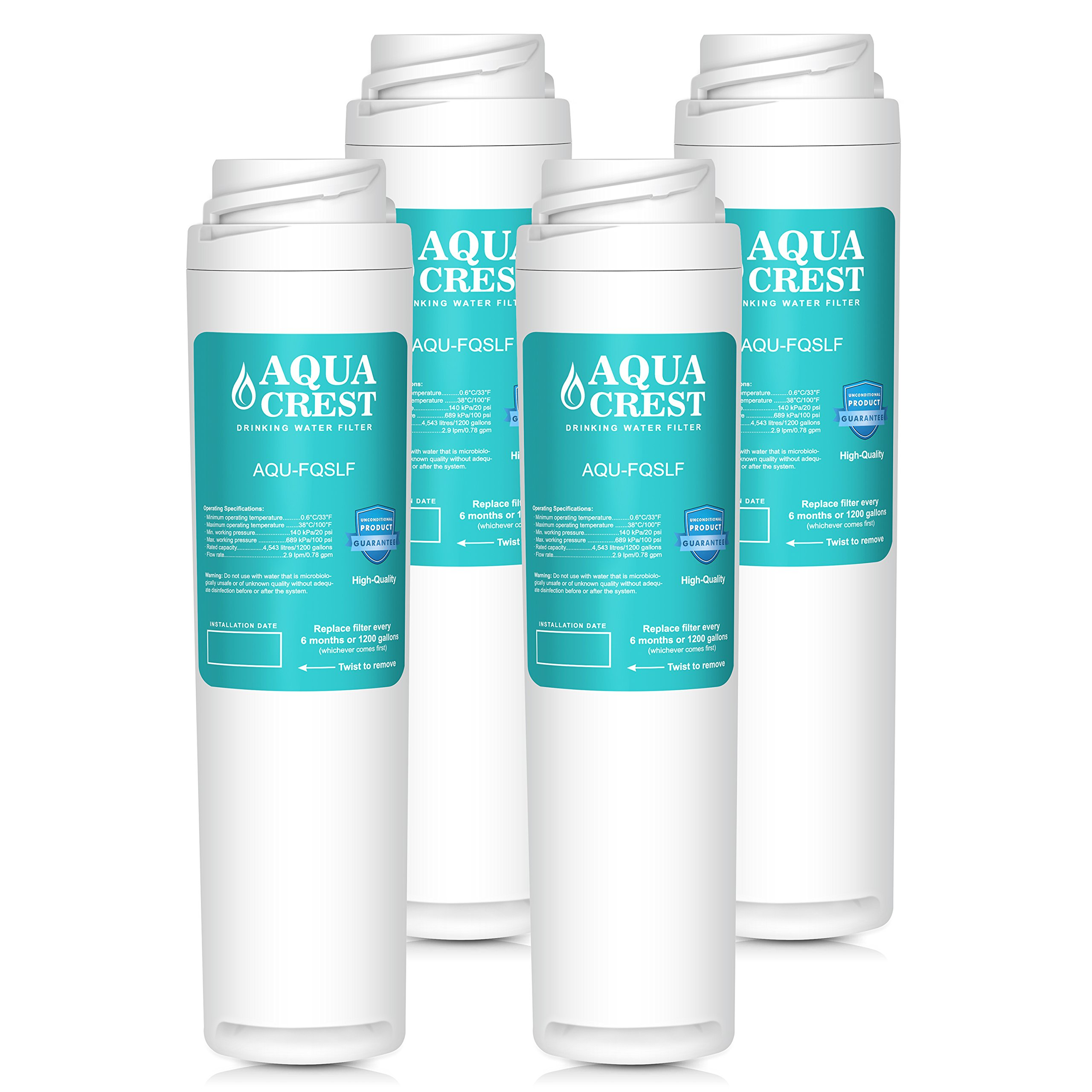 AQUACREST FQSLF Replacement Under Sink Water Filter, Compatible with GE FQSLF (2 Set)