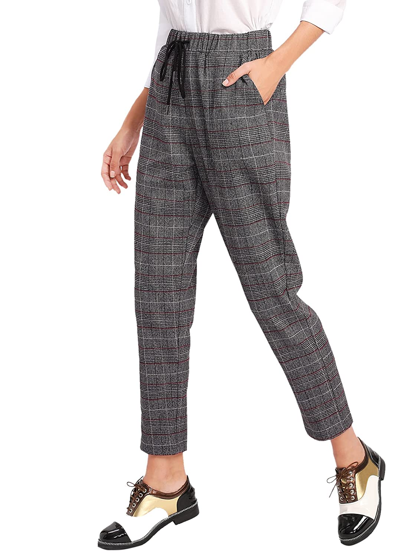d9de045351 SweatyRocks Women's Vintage Plaid Casual Pocket Pants Drawstring Elastic  Waist at Amazon Women's Clothing store: