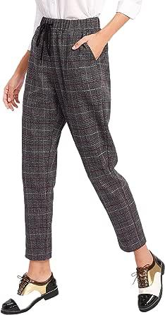 SweatyRocks Women's Vintage Plaid Casual Pocket Pants Drawstring Elastic Waist