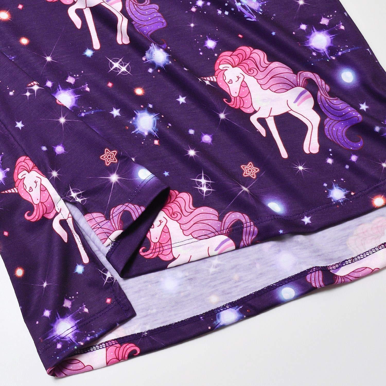 Nightgowns for Girls Cat Unicorn Mermaid Cotton Pajamas Dresses 3//4 Sleeve