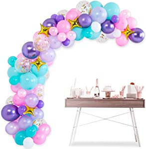Mermaid Balloon Garland Arch Kit - 105 pcs Latex Pink Purple Aqua White Gold Confetti Foil Star Balloons 16ft, Oh Baby Shower Decorations, Birthday Unicorn Party Supplies Backdrop, Ocean Theme Décor