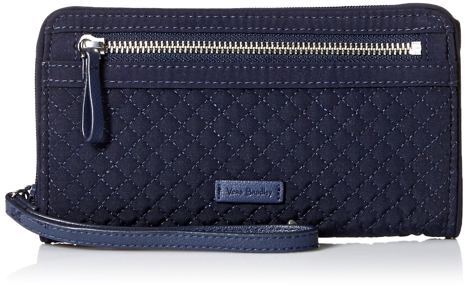 Vera Bradley Iconic Rfid Front Zip Wristlet, Microfiber, Classic Navy
