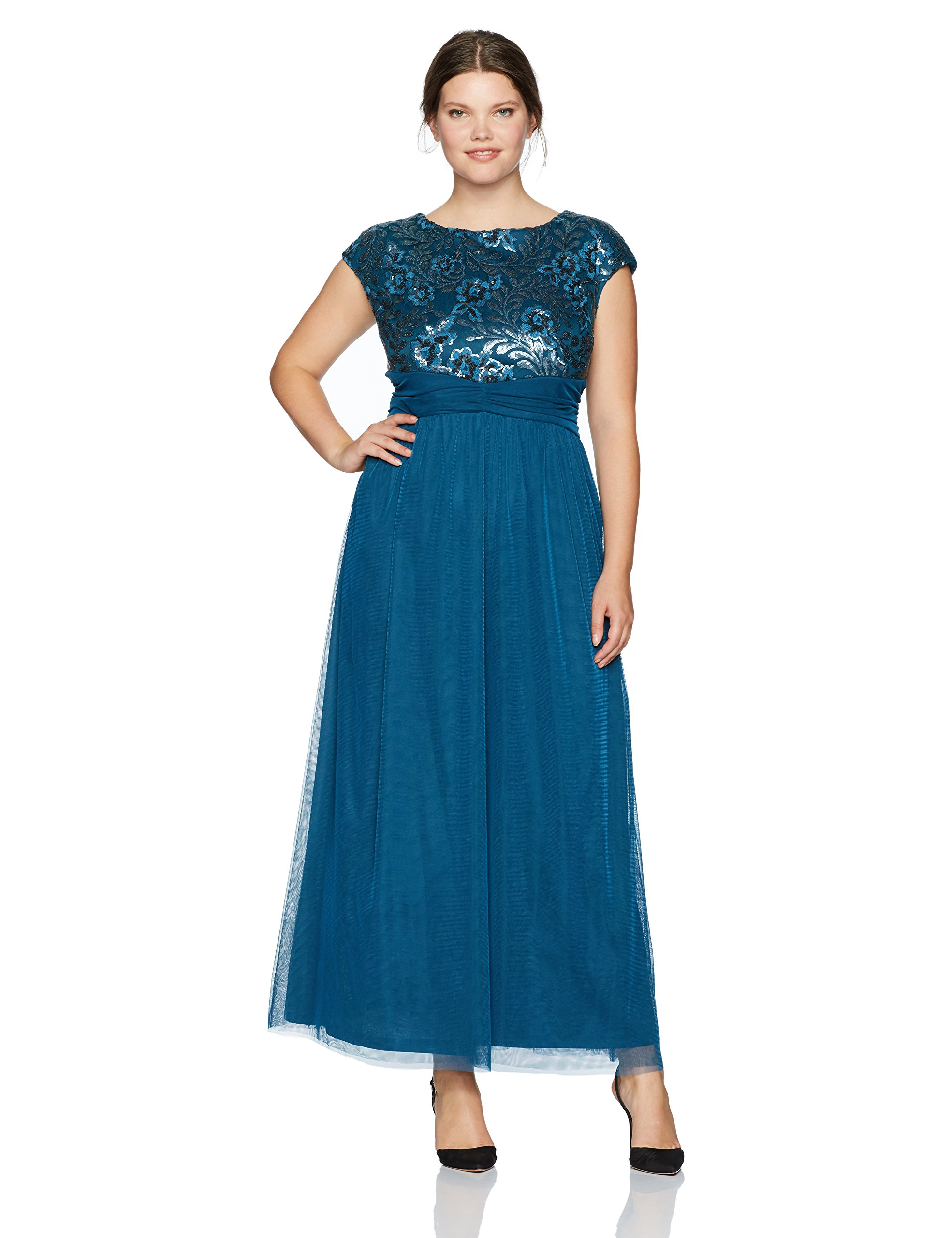 Le Bos Women's Plus Size Sequin Bodice Long Dress W/Tulle Skirt, Teal, 14W