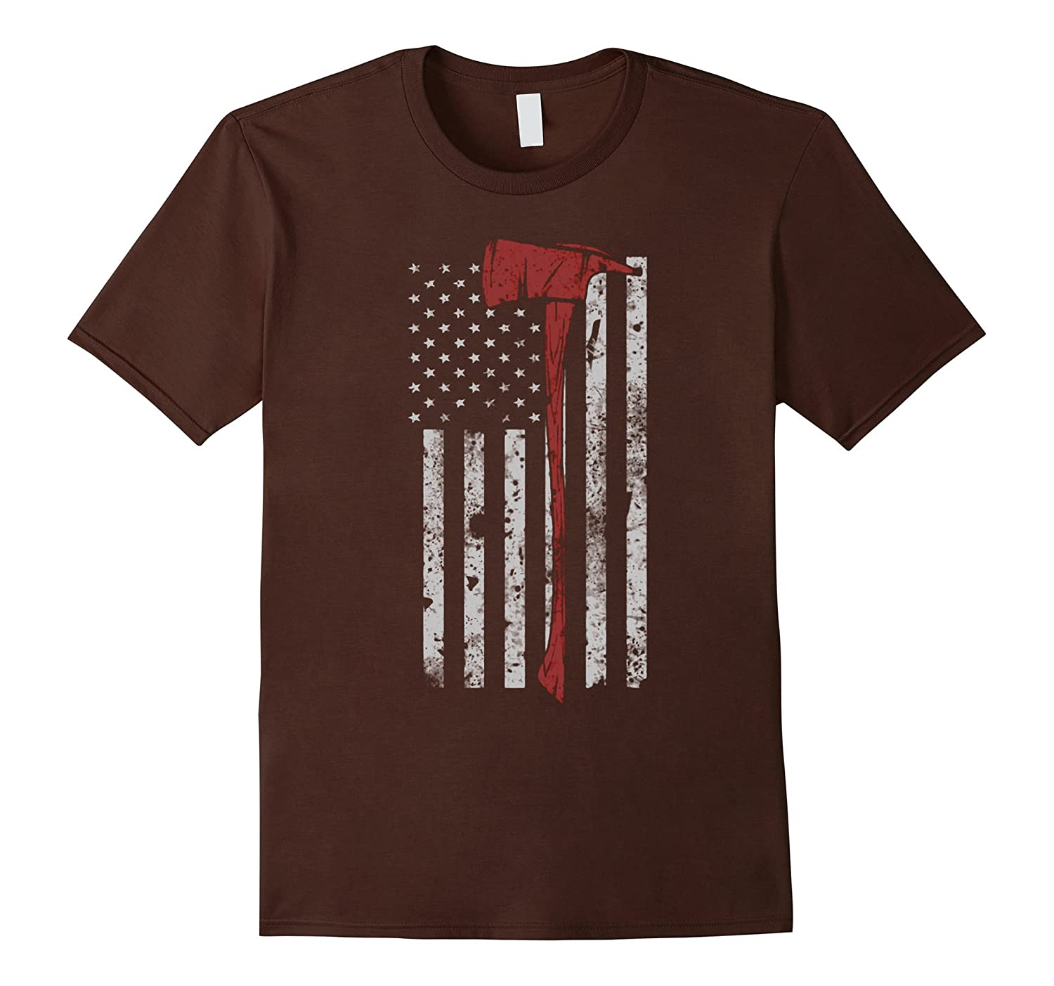 Thin Red Line American Firefighter Flag Axe T Shirt