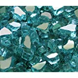 "Fire Pit Fireplace Glass, ~1/4"" Azuria Blue Reflective US Made, 10 LBS"