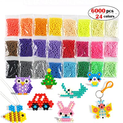 Fuse Beads Refill Set Water Beads Non-Toxic Safe Art Crafts Toys for Kids Handmake STEM Educational kit-6000 Beads in 24 Different Colors: Arts, Crafts & Sewing