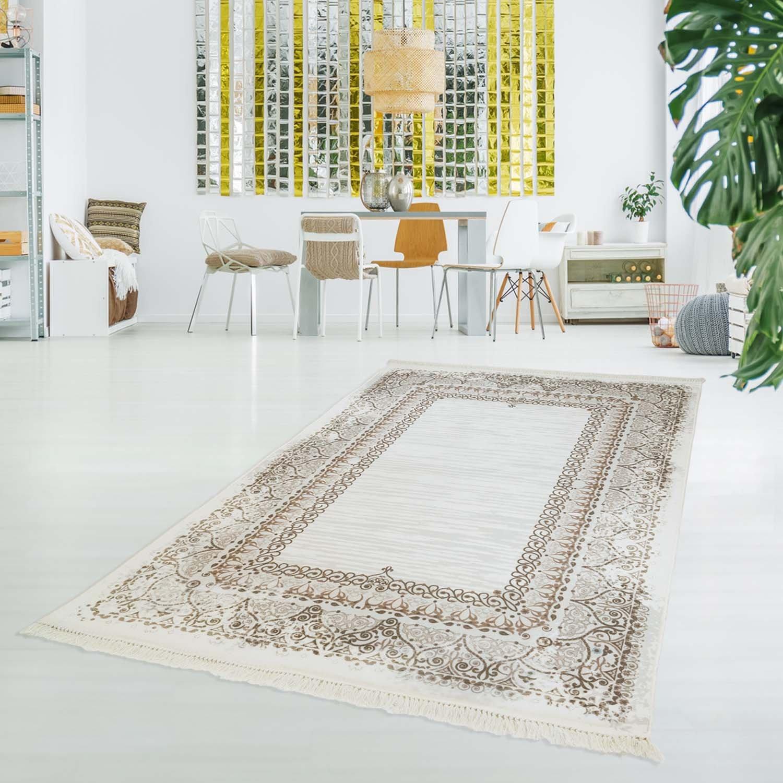 Carpet city Druck-Teppich Flachflor Polyester Waschbar Klassisch Ornamente Mäander beige Creme 150x230 cm
