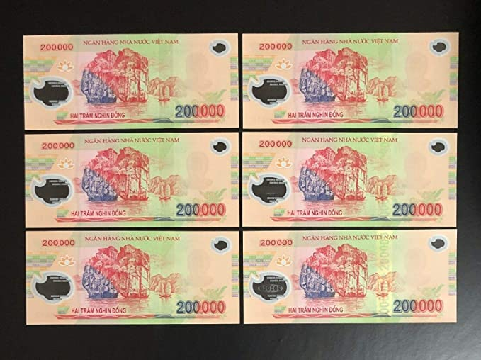 1 MILLION DONG = 5 x 200,000 VIETNAM POLYMER CURRENCY BANKNOTES UNC
