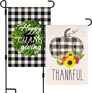 Kidtion 2 Packs Thanksgiving Garden Flag, Vertical Double Sized Burlap garden Flags Watercolor Plaid Pumpkin Thankful Flag, Thanksgiving Harvest Rustic Outdoor Decorations Yard Décor 12x18 Inches