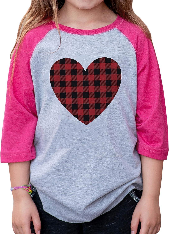 7 ate 9 Apparel Girls Buffalo Plaid Heart Valentines Day Pink Raglan Shirt
