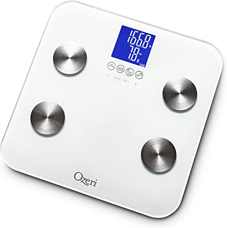 Amazon Com Ozeri Touch 440 Lbs Total Body Bath Scale Measures Weight Fat Muscle Bone Hydration With Auto Recognition And Infant Tare Technology Health Personal Care