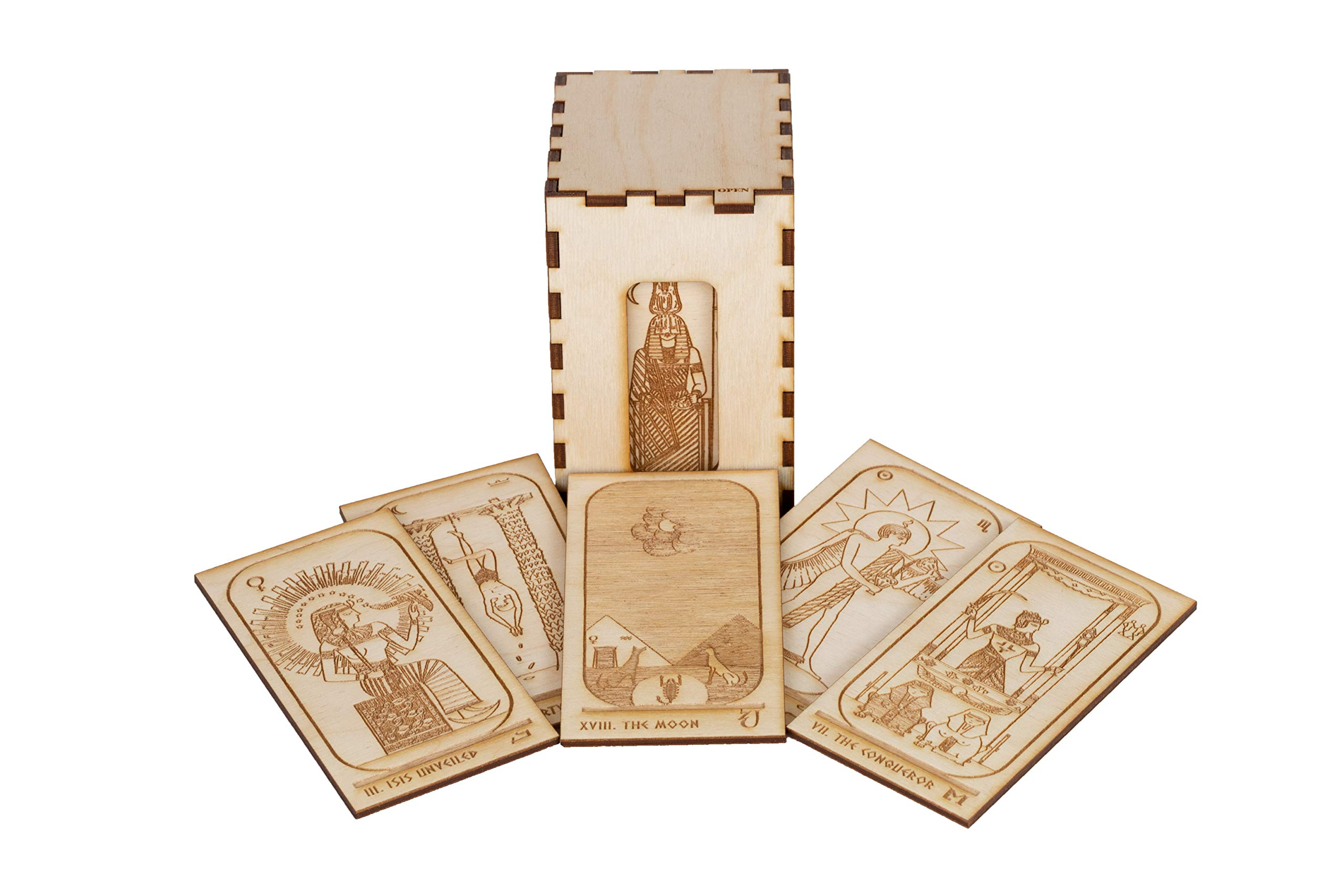 LumEngrave Wood Engraved Egyptian Tarot Deck Historically Accurate Early 20th Century Tarot Deck | 22 Card Major Arcana Egypt Gift Occult Gift Mystic by LumEngrave (Image #7)