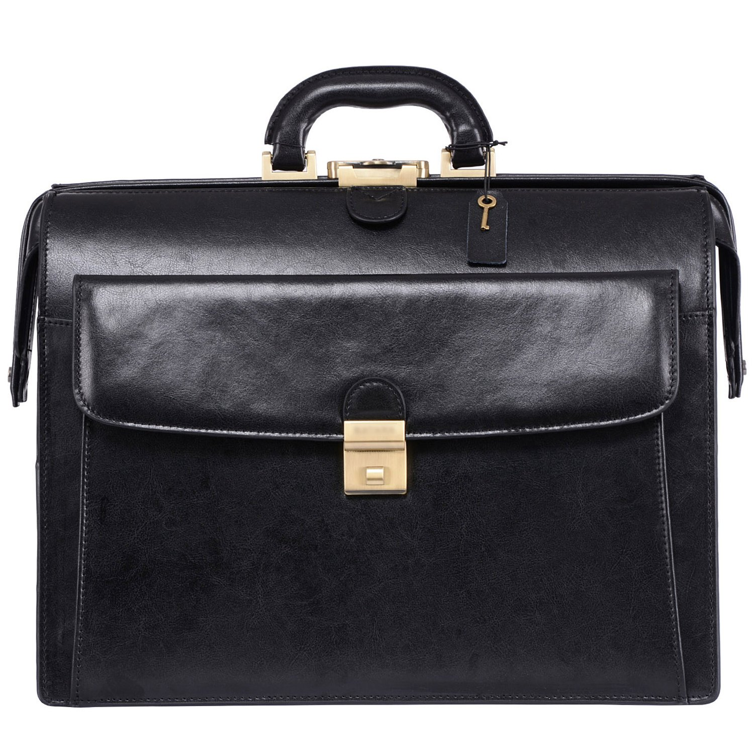 Ronts Lawyer's Leather Professional Briefcase Laptop Case(Black)