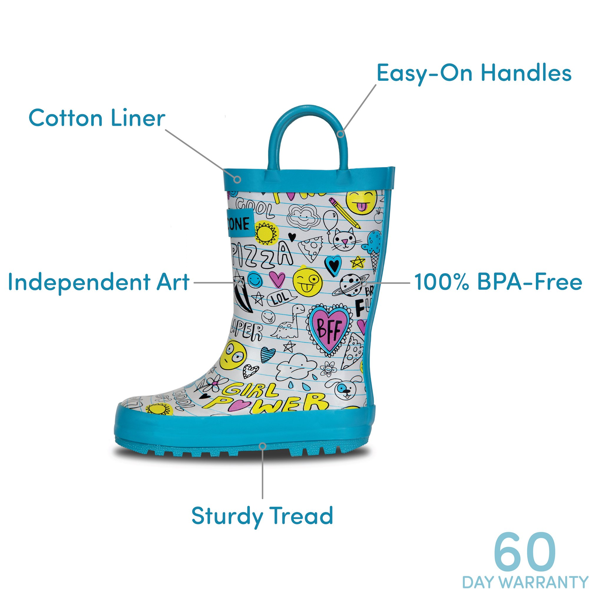 LONECONE Children's Waterproof Rubber Rain Boots in Fun Patterns with Easy-On Handles Simple for Kids, Oodles of Doodles, Toddler 8 by LONECONE (Image #6)