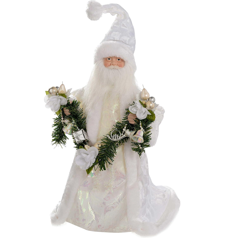 WeRChristmas - Puntale per albero di Natale a forma di Babbo Natale, 40 cm, colore: argento/bianco 42174003