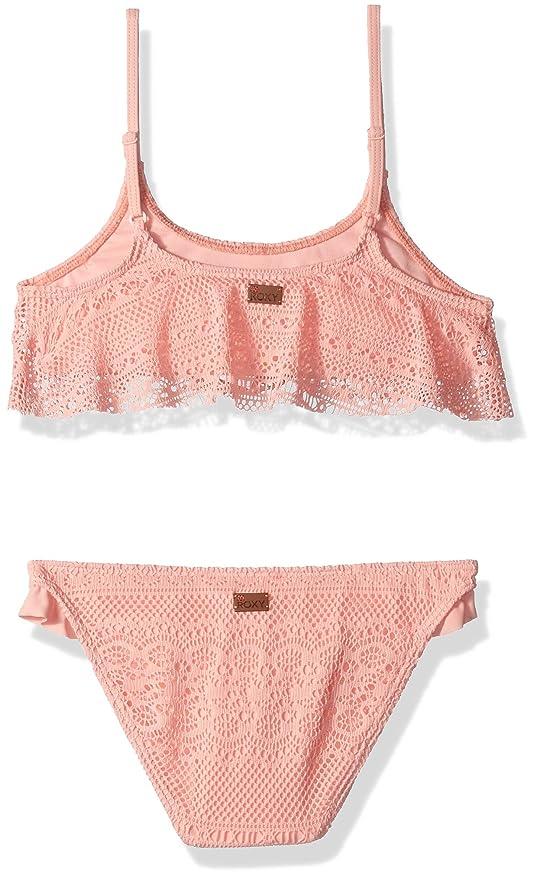 64166ffedccb4 Amazon.com: Roxy Big Girls' Faded Sun Flutter Top Swimsuit Set: Clothing