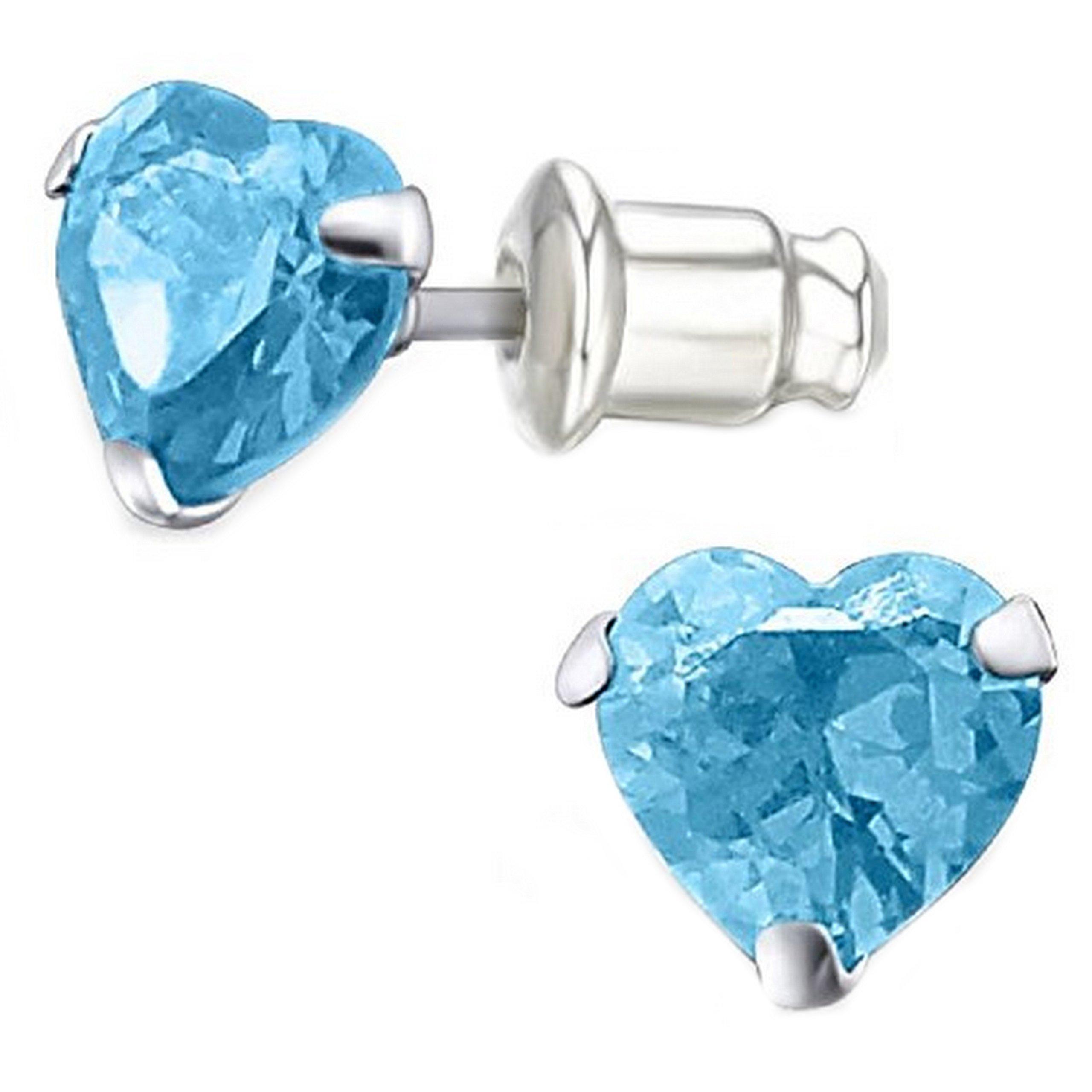 Pro Jewelry .925 Sterling Silver ''Aqua Glass CZ Heart'' Stud Earrings with Bullet Clutch Earring Backs