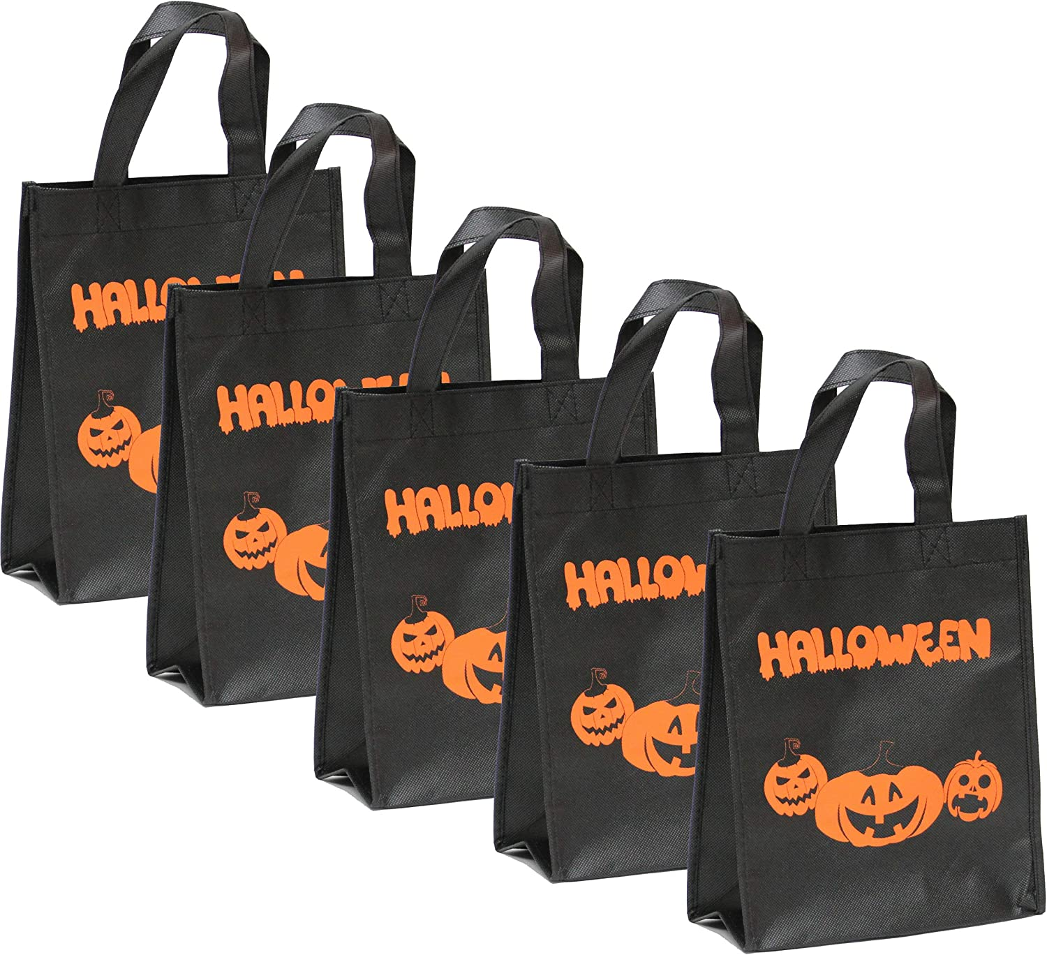 Trick or Treat Linen Goodie Bag Lined with Appliqued Happy Ghost and Nylon Cord Handles 18.5x28.5cm,
