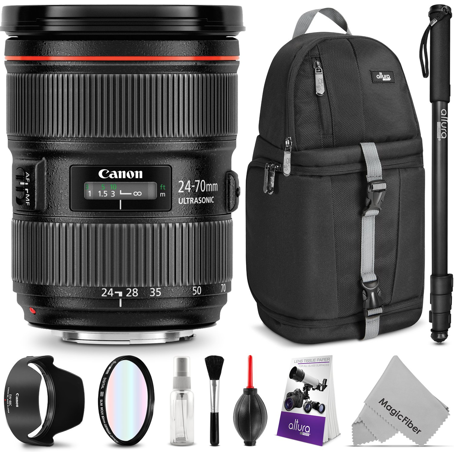 Canon EF 24-70mm f/2.8L II USM Standard Zoom Lens w/ Advanced Photo and Travel Bundle - Includes: Altura Photo Sling Backpack, Monopod, UV Protector, Camera Cleaning Set
