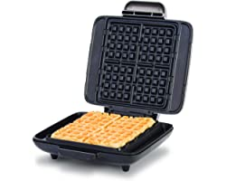 Dash Deluxe No-Drip Belgian Waffle Iron Maker Machine 1200W + Hash Browns, or Any Breakfast, Lunch, & Snacks with Easy Clean,