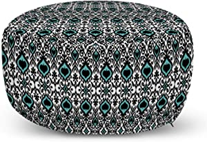 Lunarable Spanish Ottoman Pouf, Folk Ornaments Orient Damask Inspired Illustration, Decorative Soft Foot Rest with Removable Cover Living Room and Bedroom, Blue