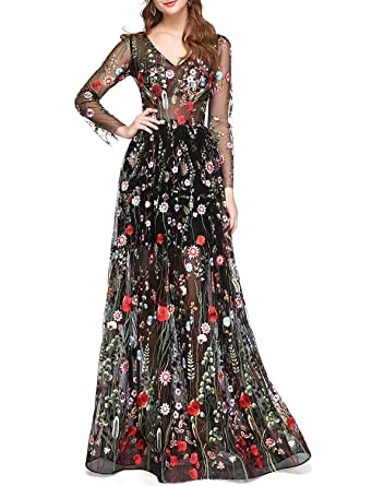 5da8d3cba8adfb LMBRIDAL Women's Embroidery Floral Print Ball Gown Long Sleeve Evening Prom  Dresses Black 2