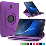 Infiland Samsung Galaxy Tab A 10.1 Case Cover,Premium Vegan Leather 360 Degree Rotating Swivel Stand for Samsung Galaxy Tab A 10.1 inch (2016) SM-T580N/ SM-T585N Tablet-PC(with Auto Sleep / Wake Feature)(Purple)