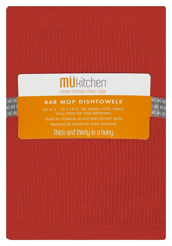 White MUkitchen 26620-1200 Kitchen Towel Cotton Bar Mop Dishtowel Set 18 x 16