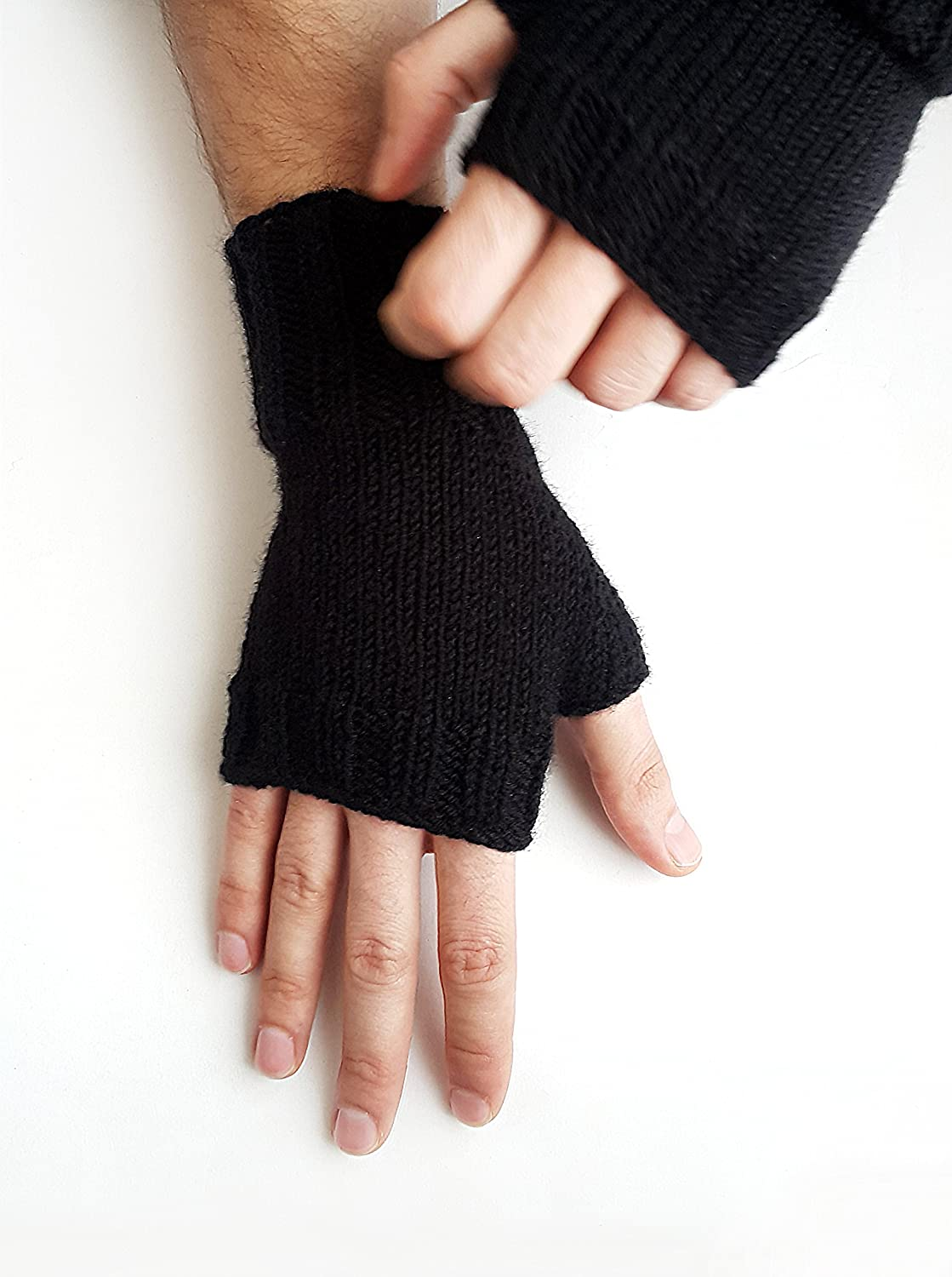 Men's basic gloves - Fingerless gloves men Men's knit gloves Texting gloves Gift for him