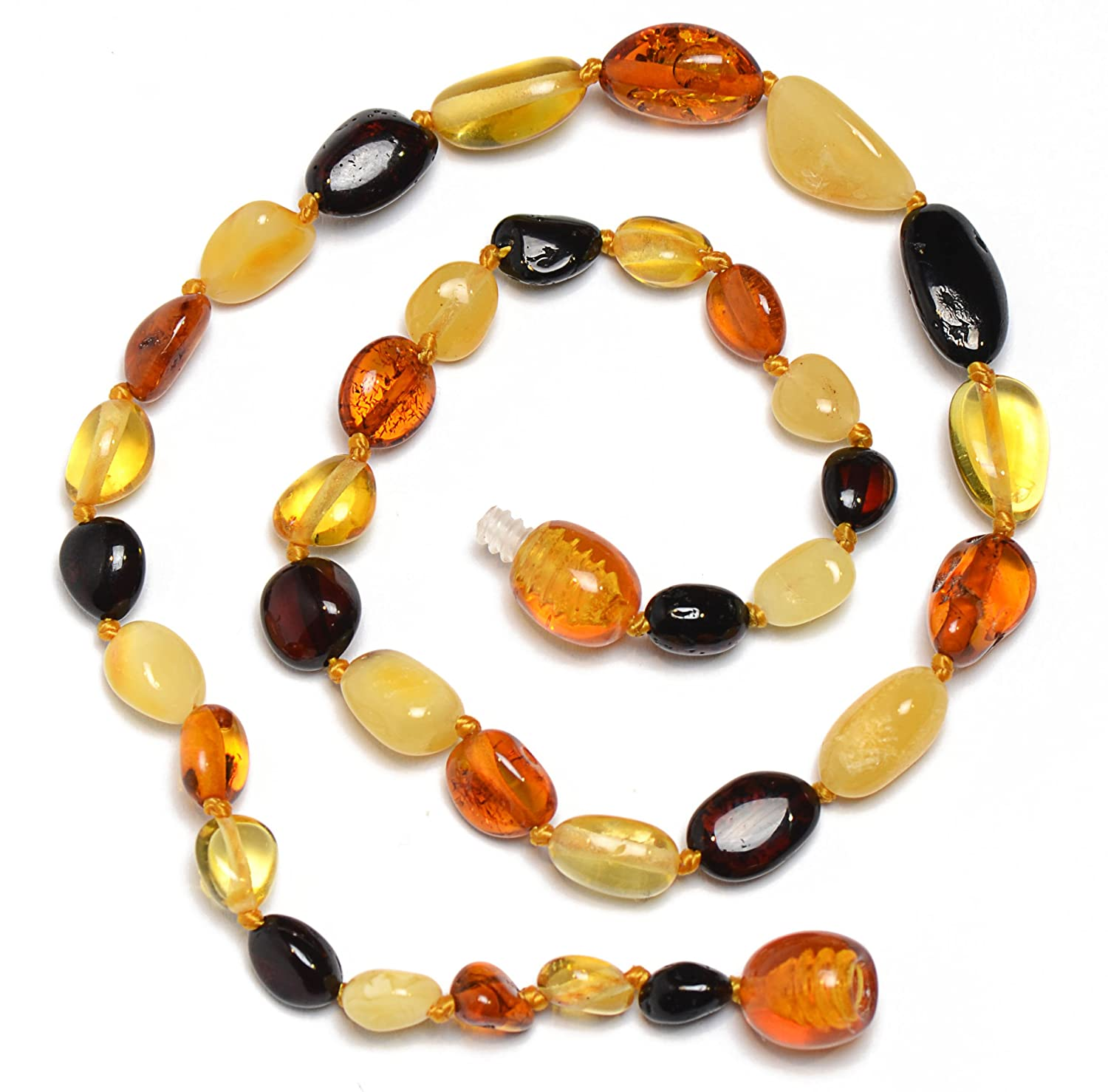 Colorful 100% Authentic Baltic Amber Teething Necklace for Baby - Safety Knotted - Genuine Baltic Amber Genuine Amber