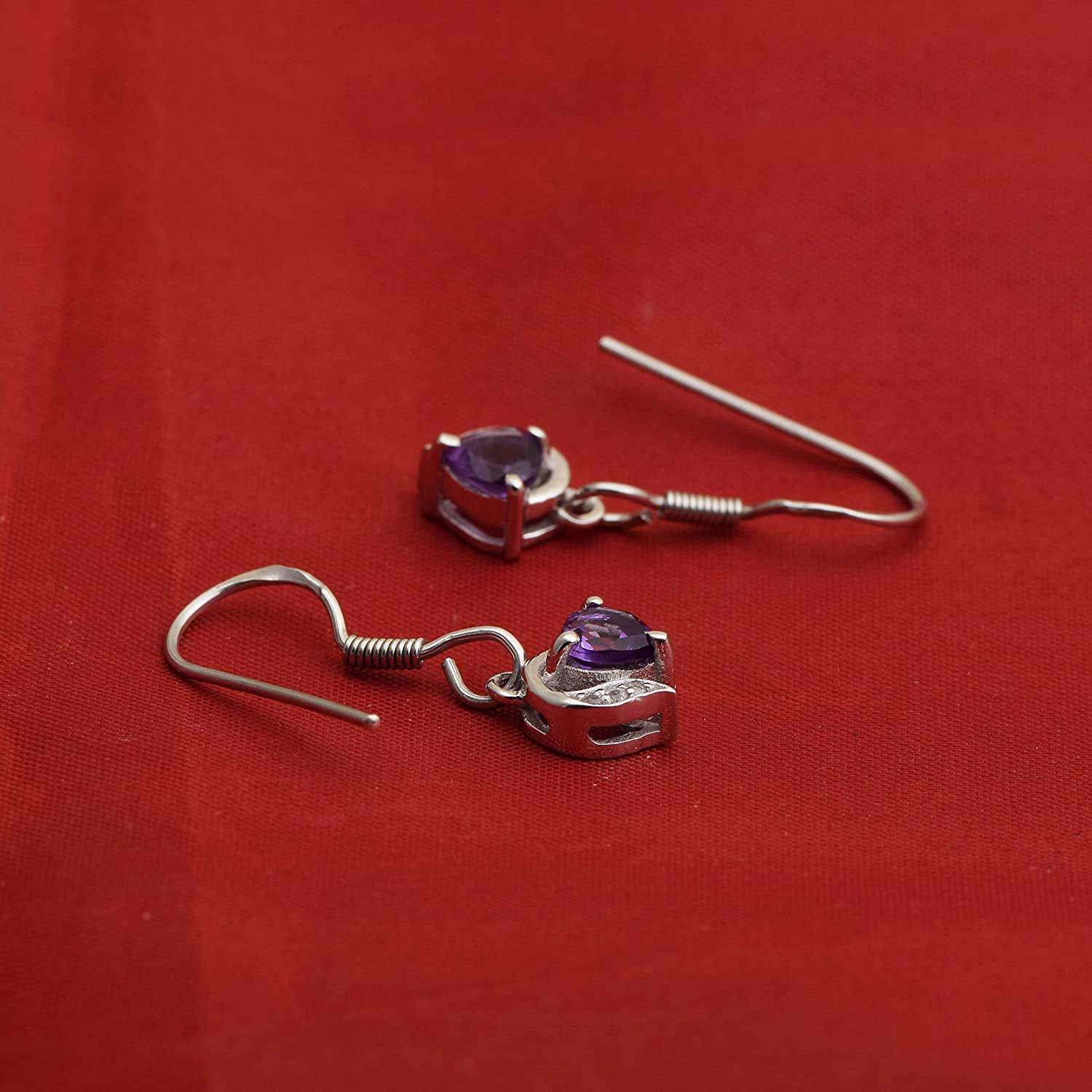 Amazing 925 Sterling Silver Amethyst With White Topaz Stone Dangle Earrings