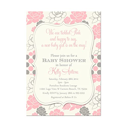 Amazon Com Pink And Grey Tickled Pink Baby Shower Invitation Base