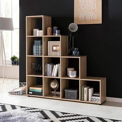 KS-Furniture Estantería escalonada Lucio Madera, 10 Compartimentos, 139 x 145 x 29 cm, Separador de Espacios para Carpetas y Libros, Gran estantería para escaleras: Amazon.es: Juguetes y juegos