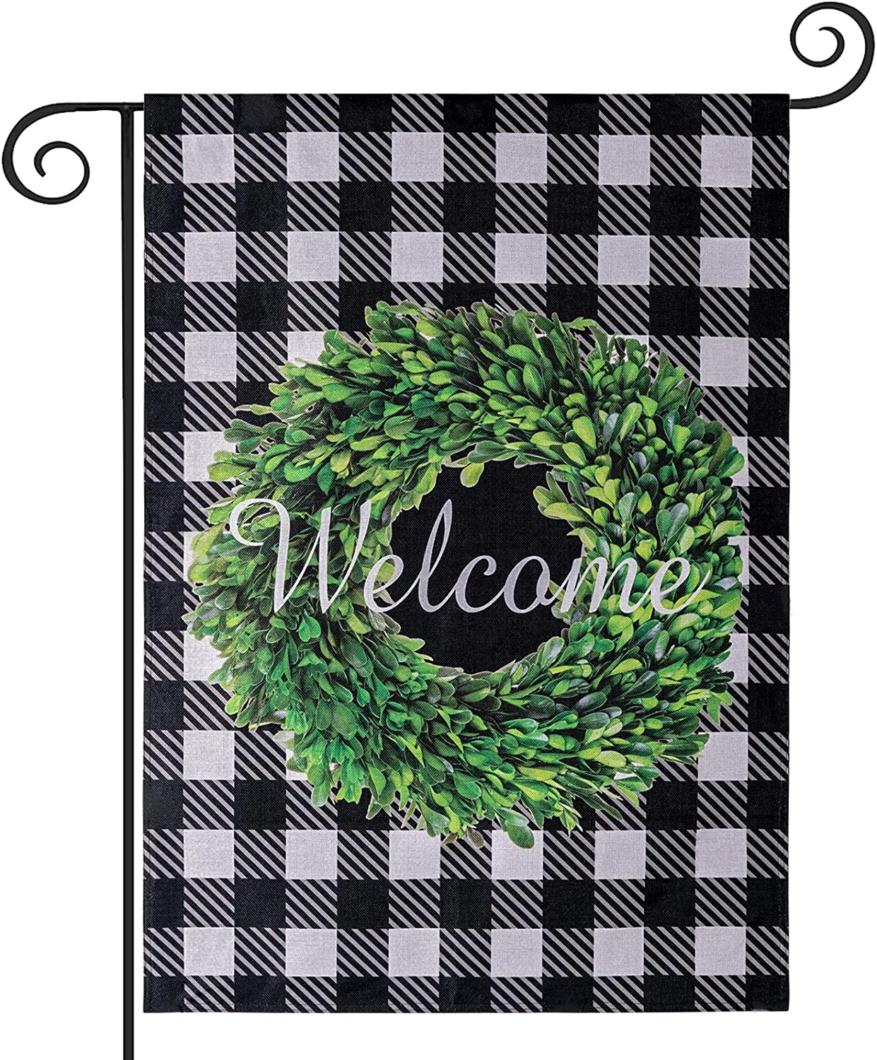 PHITRIC Boxwood Wreath Welcome Garden Flag, Vertical Double Sided Yard Flag Summer Fall Buffalo Check Plaid Outdoor Rustic Farmhouse Decor, 12.5x18 Inches