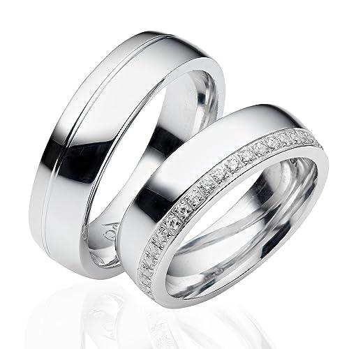 alianzas alianzas de anillos de compromiso Amistad Anillos Plata de ley 925 * Incluye Funda y piedras * LC05: Amazon.es: Joyería