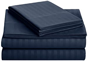 AmazonBasics Deluxe Microfiber Striped Sheet Set, Navy Blue, Queen