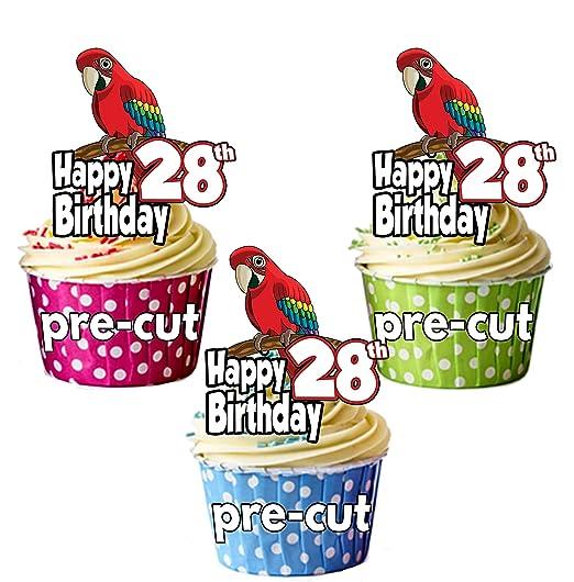 PRECUT: Loro - 28 cumpleaños - adornos comestibles para ...