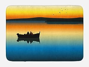 Ambesonne Fishing Bath Mat, Buddies on Tranquil Still Lake at Epic Sunset Fishing Male Friends Bond Friendship, Plush Bathroom Decor Mat with Non Slip Backing, 29.5