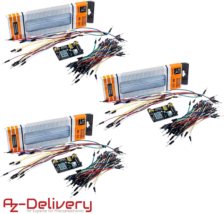 5V para Arduino AZDelivery ⭐⭐⭐⭐⭐ 3 x MB102 Breadboard Adaptador de Fuente de alimentaci/ón M/ódulo de Fuente de alimentaci/ón 3.3V