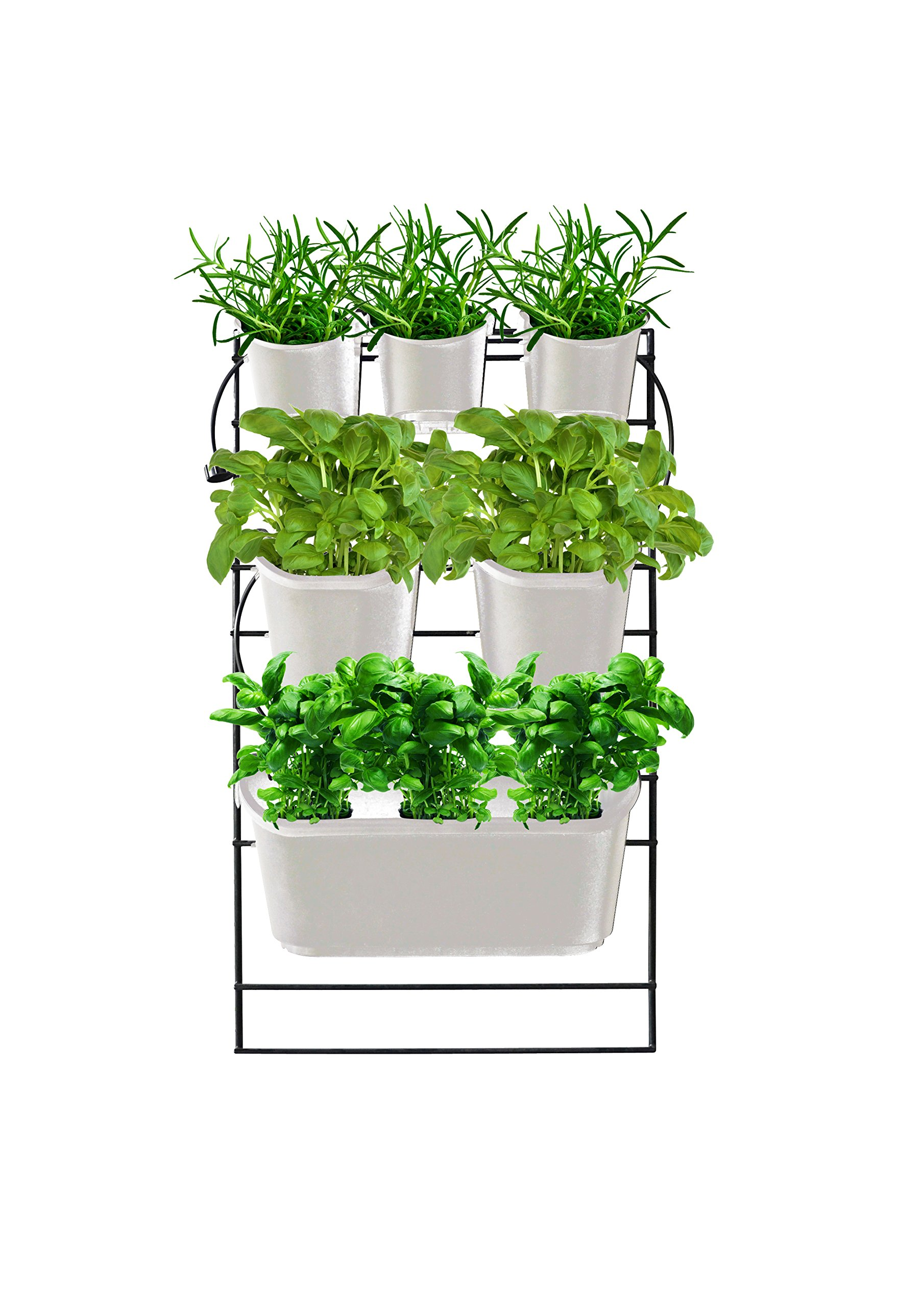 Watex WX056 Metal Mounted Green Wall Vertical Planter, Cool Grey