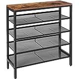HOOBRO Shoe Rack, 5-Tier Shoe Storage Unit Flat & Slant Adjustable Shoe Organizer Shelf for 16 Pairs, Durable and Stable, for