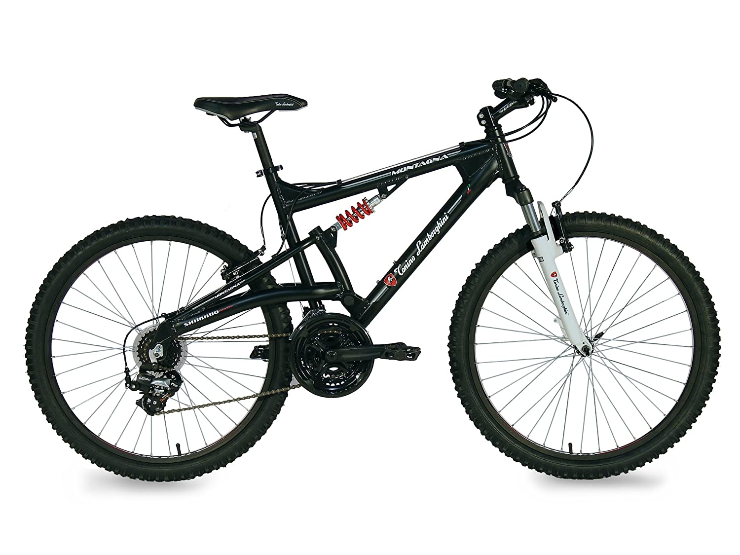 Lamborghini Montagna Dual Suspension 24 Speed Mountain Bike, Black,  19 Inch: Amazon.co.uk: Sports U0026 Outdoors
